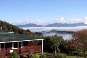 Looking out at the mists over the Lodge